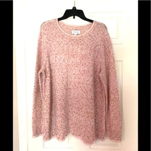 NWT ELLE Pink Red Crew Neck Scallop Hem Sweater